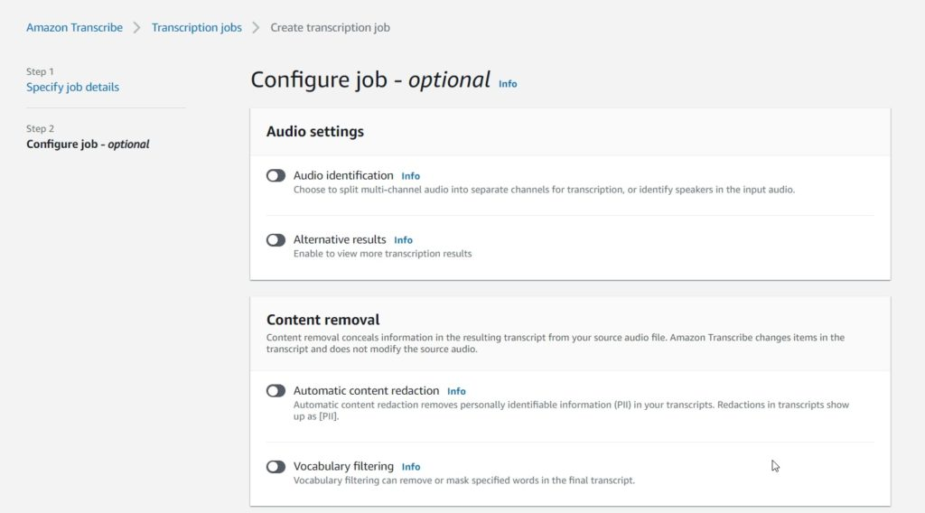 Demonstrating steps to create a Transcription Job using Amazon Transcribe from AWS Management Console, Showing optional details while configuring a transcription job